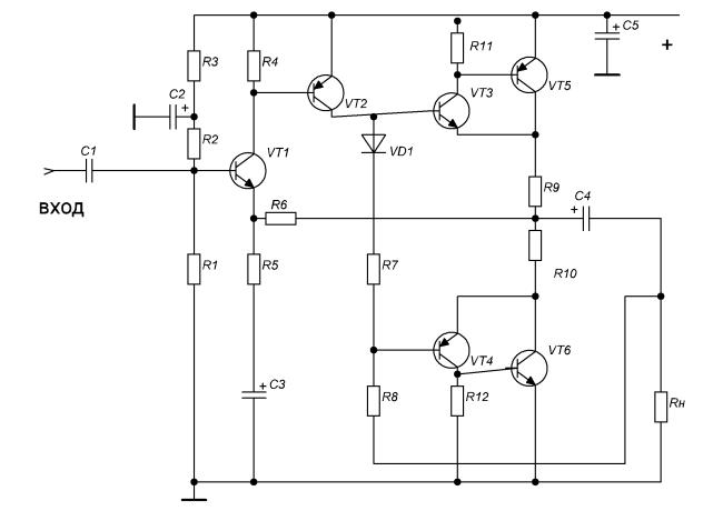 составные транзисторы VT3,