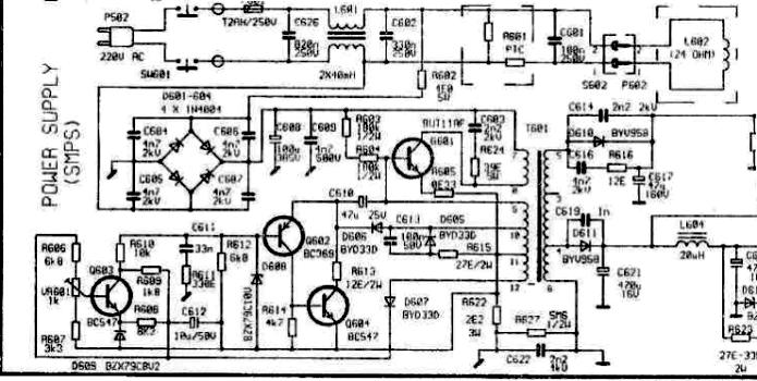 Akai-2107.  Ключом в данном ИИП служит транзистор BUT11AF.  ШИМ- генератор построен на принципе самовозбуждения...