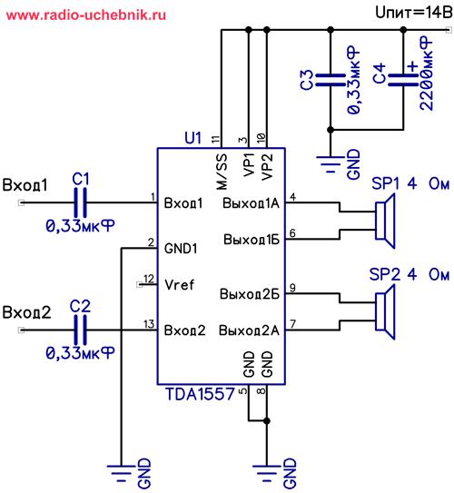 радиоэлектроника для начинающих.усилители.микросхема tda1557: http://radio-uchebnik.ru/radiokrujok_amplifer_tda1557.html