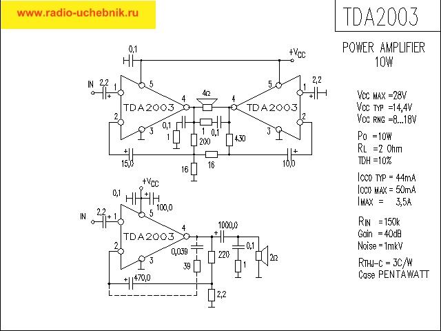микросхема- усилитель TDA2003