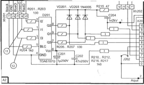 Форум по ремонту...  На данной схеме видеоусилитель выполнен на широко распространенной микросхеме TDA6107...