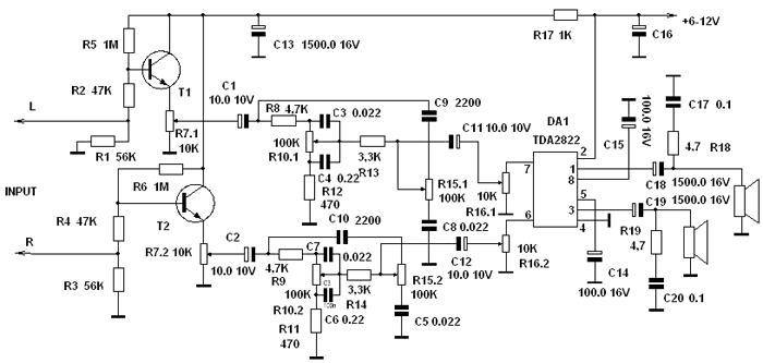 tda2822 с темброблоком схема