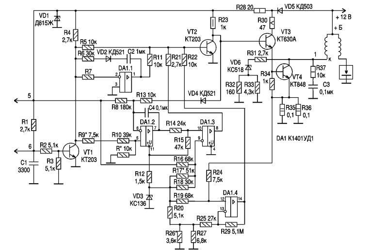 Схема электронного коммутатора автомобилей ВАЗ 2108, 09