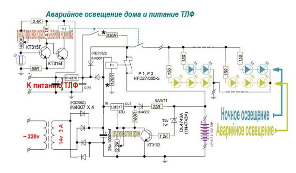 Схема автономного освещения от аккумулятора