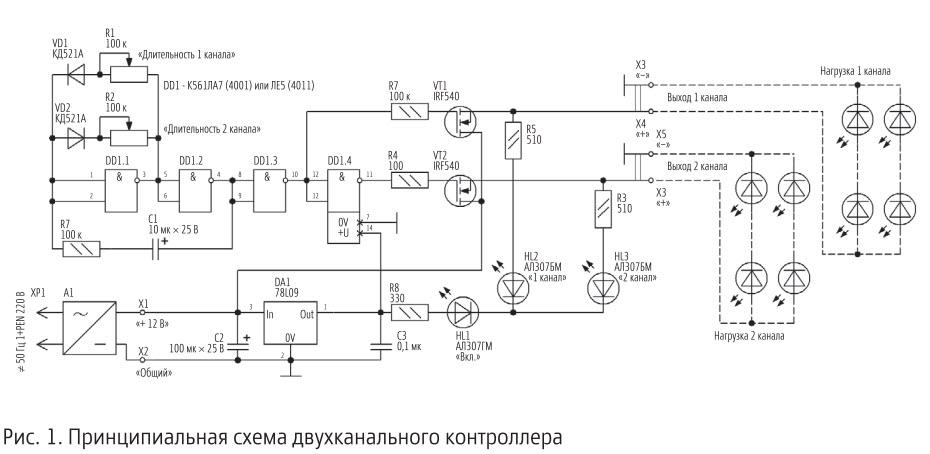 Схема световых эффектов на светодиодах