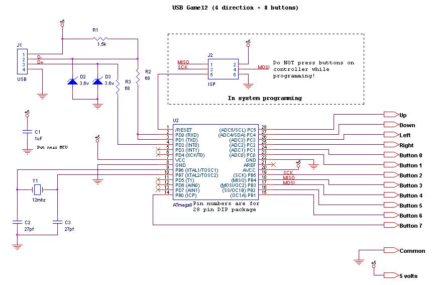 джойстик от денди к usb схема